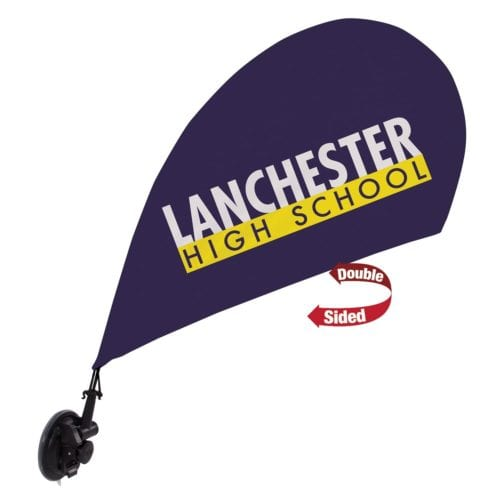 Mini Teardrop Sail Sign, 2-sided, Suction Cup Base