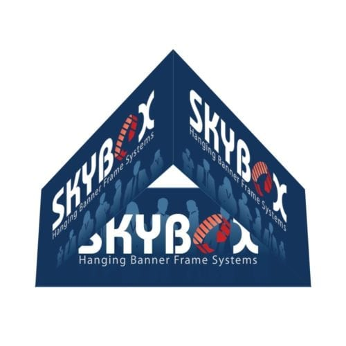 Hanging Banner 10ft Triangle 42″ Inside & Outside Graphic Package (hardware & Graphic)